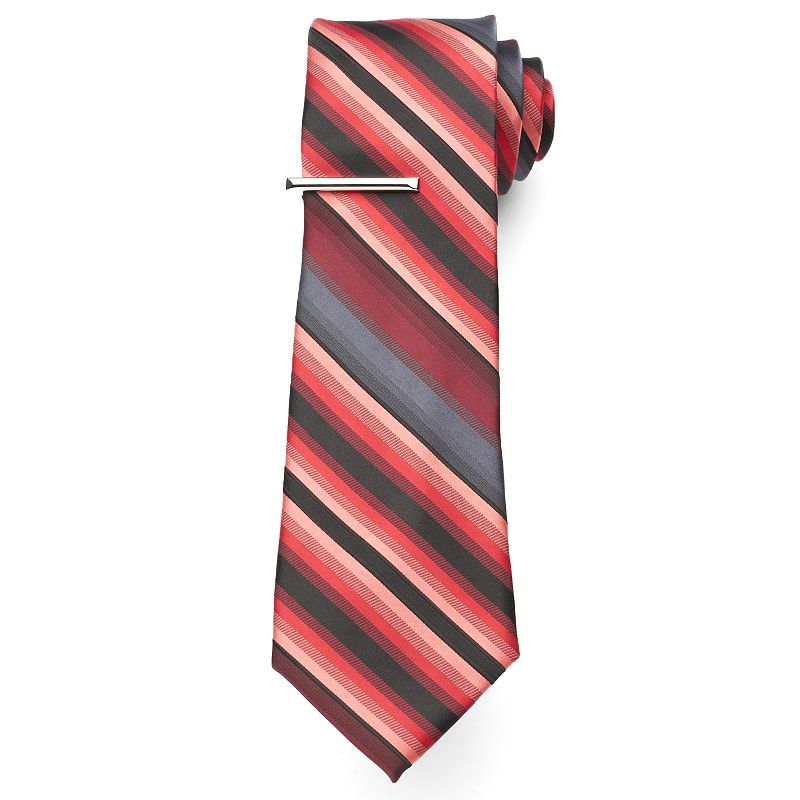 Big & Tall Extra-Long Apt. 9® Landslide Striped Tie with Tie Bar