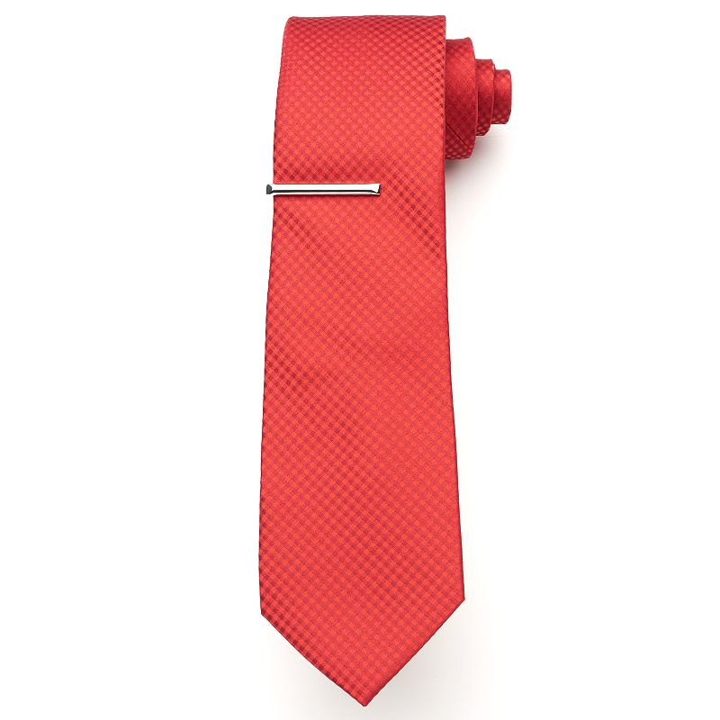 Big & Tall Extra-Long Apt. 9® McVinney Checked Tie with Tie Bar