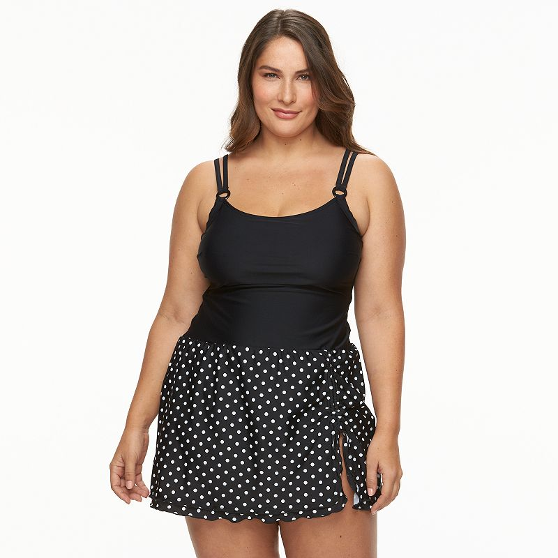 Plus Size Croft & Barrow® D-Cup Polka-Dot Swimdress