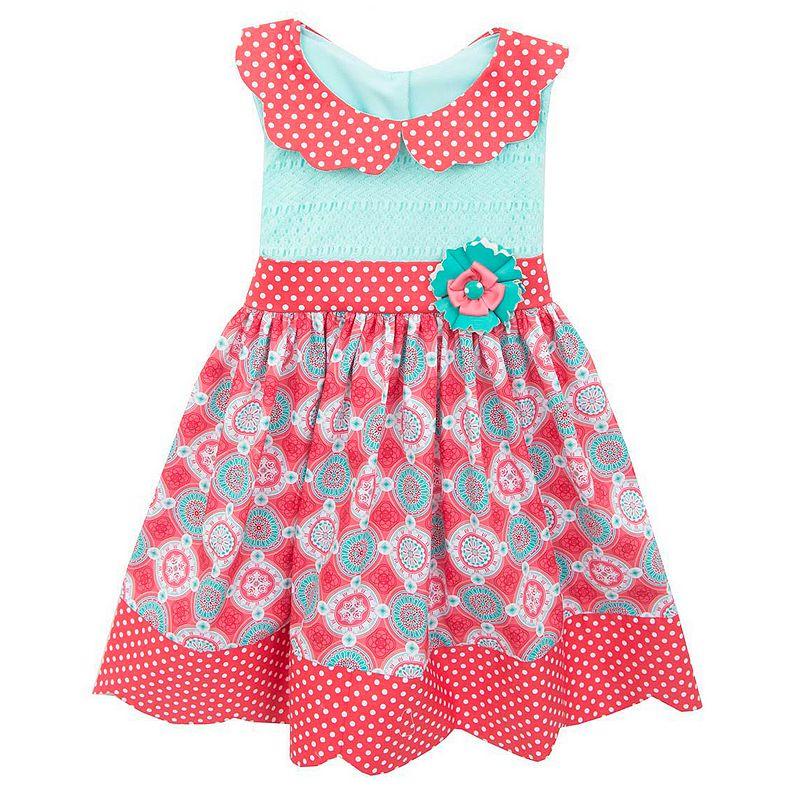 Toddler Girl Rare Editions Mixed Pattern Polka-Dot Dress