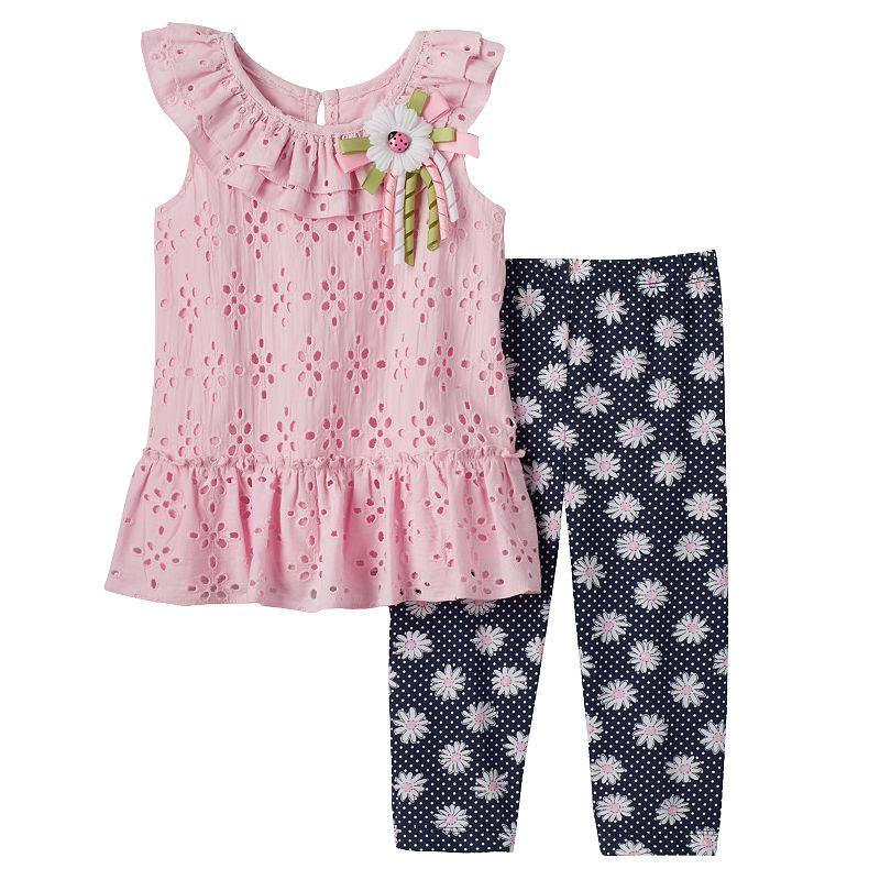Toddler Girl Blueberi Boulevard Eyelet Dress & Leggings Set