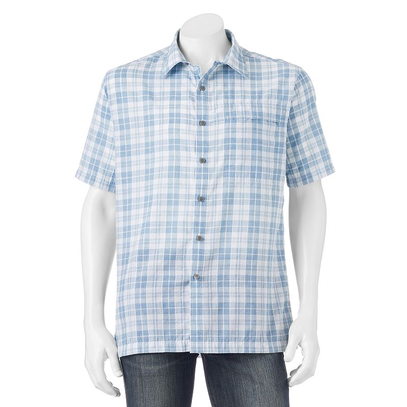 Big & Tall Croft & Barrow® Quick-Dry Easy-Care Plaid Seersucker Button-Down Shirt