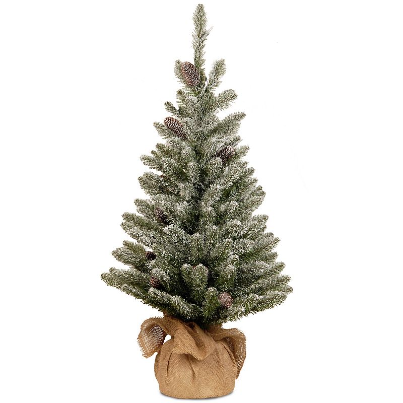 3-ft. Snowy Concolor Fir Artificial Christmas Tree in Burlap