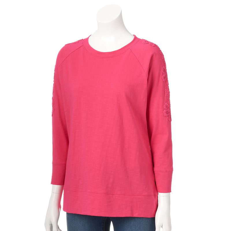 Women's Caribbean Joe Crochet-Floral Crewneck Sweatshirt