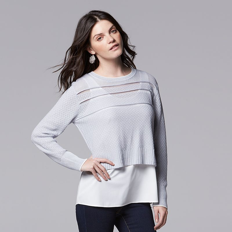 Women's Simply Vera Vera Wang Mock-Layer Crewneck Sweater