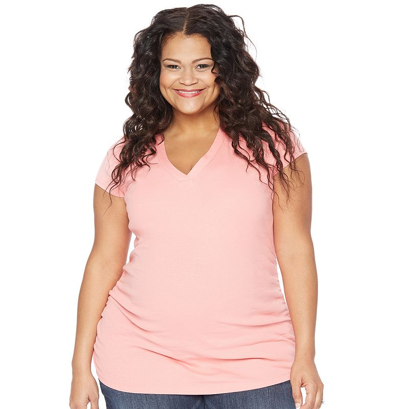 Plus Size Maternity Oh Baby by Motherhood™ Banded V-Neck Tee