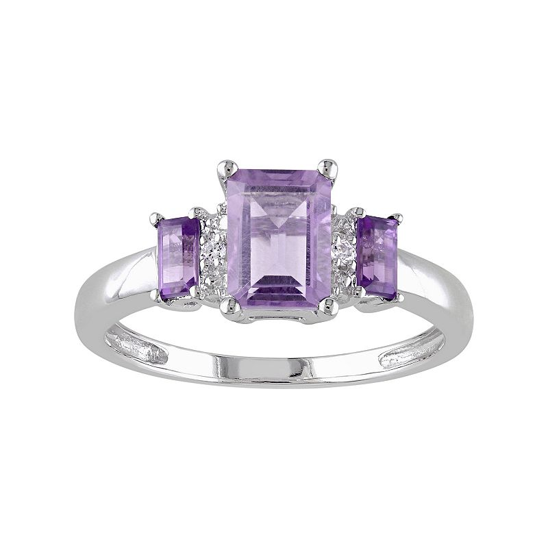 Amethyst & Diamond Accent 10k White Gold 3-Stone Ring