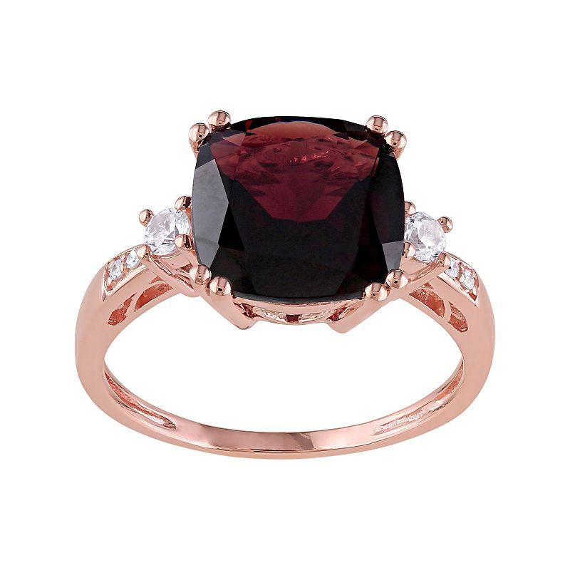 Garnet, Lab-Created White Sapphire & Diamond Accent 10k Rose Gold Ring