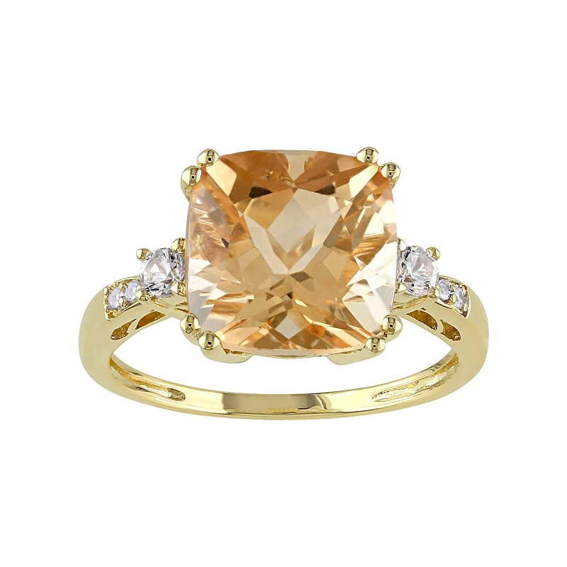 Citrine, Lab-Created White Sapphire & Diamond Accent 10k Gold Ring