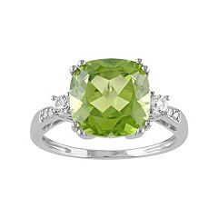 Peridot, Lab-Created White Sapphire & Diamond Accent 10k White Gold Ring by