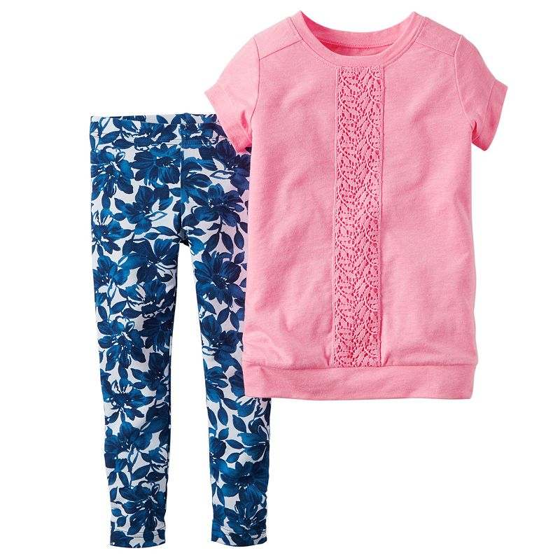 Baby Girl Carter's Short-Sleeve Lace Top & Leggings Set