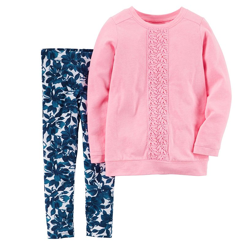 Baby Girl Carter's Long-Sleeve Lace Top & Leggings Set