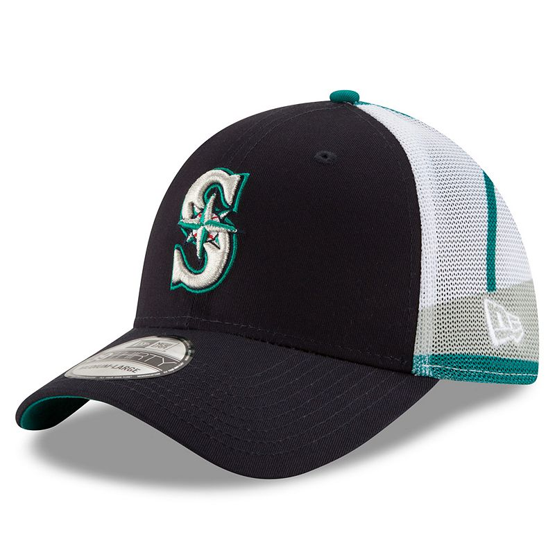 Adult New Era Seattle Mariners 39THIRTY Logo Wrapped Flex-Fit Cap