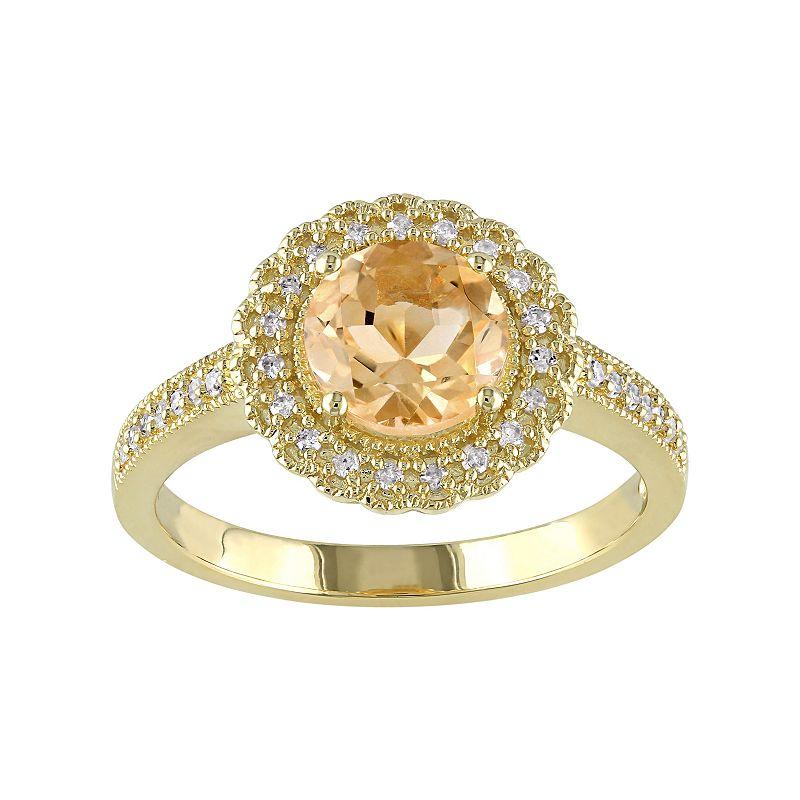 Sterling Silver Citrine & 1/8 Carat T.W. Diamond Halo Ring