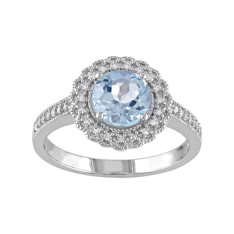 Sterling Silver Sky Blue Topaz & 1/8 Carat T.W. Diamond Halo Ring