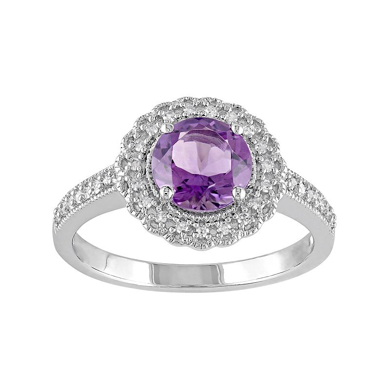 Sterling Silver Amethyst & 1/8 Carat T.W. Diamond Halo Ring