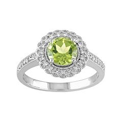 Sterling Silver Peridot & 1/8 Carat T.W. Diamond Halo Ring by