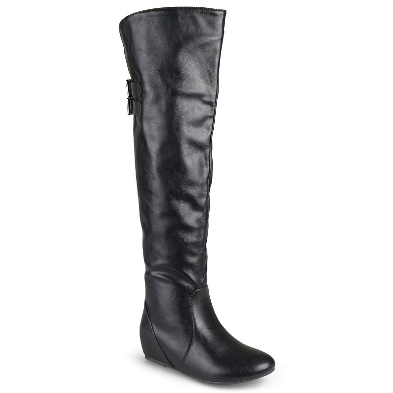 Journee Collection Angel Women's Wide-Calf Over-the-Knee Wedge Riding Boots