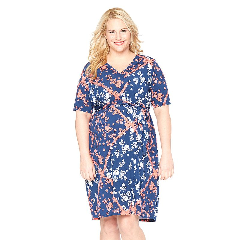 Plus Size Maternity Oh Baby by Motherhood™ Floral Wrap Dress