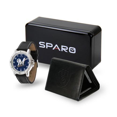 Men's Sparo Milwaukee Brewers Watch and Wallet Set