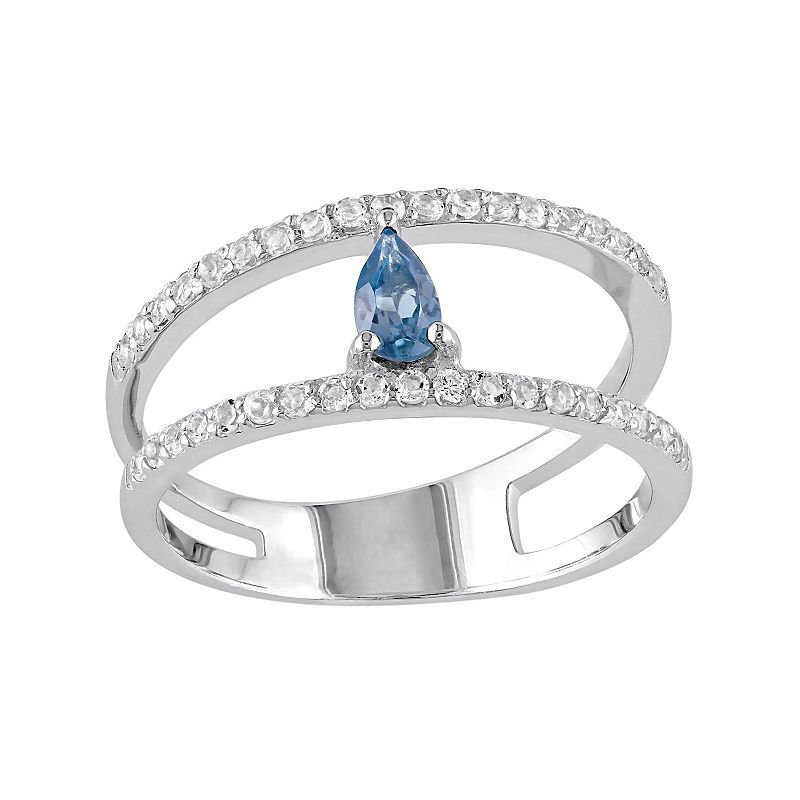 Blue & White Topaz Sterling Silver Double Row Ring