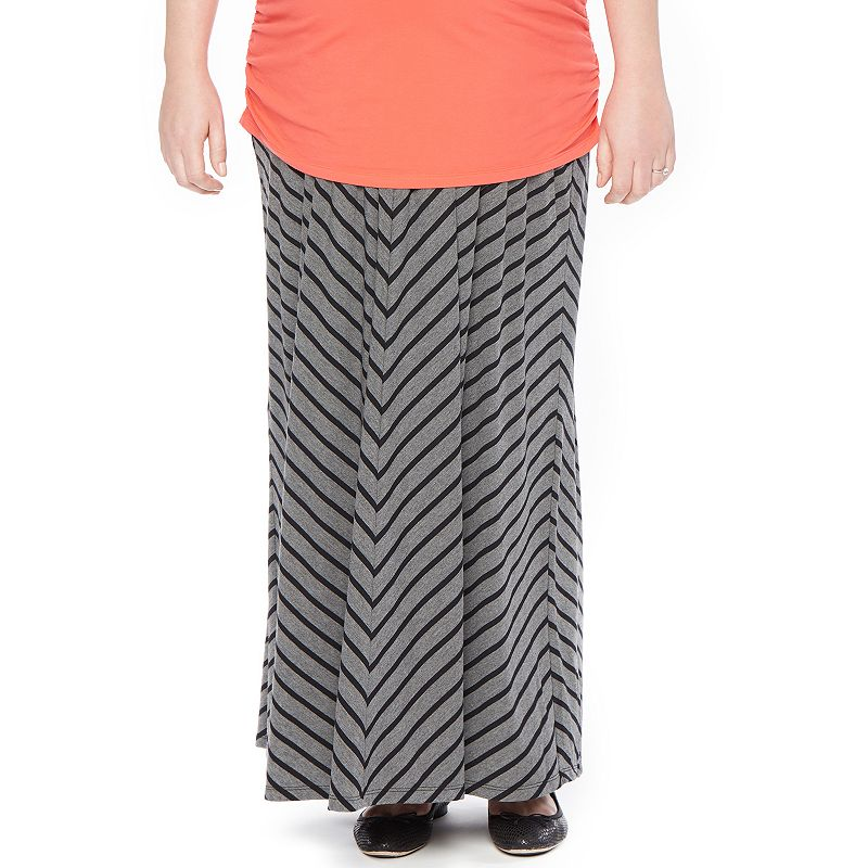 Plus Size Maternity Oh Baby by Motherhood™ Secret Fit Belly™ Striped Maxi Skirt