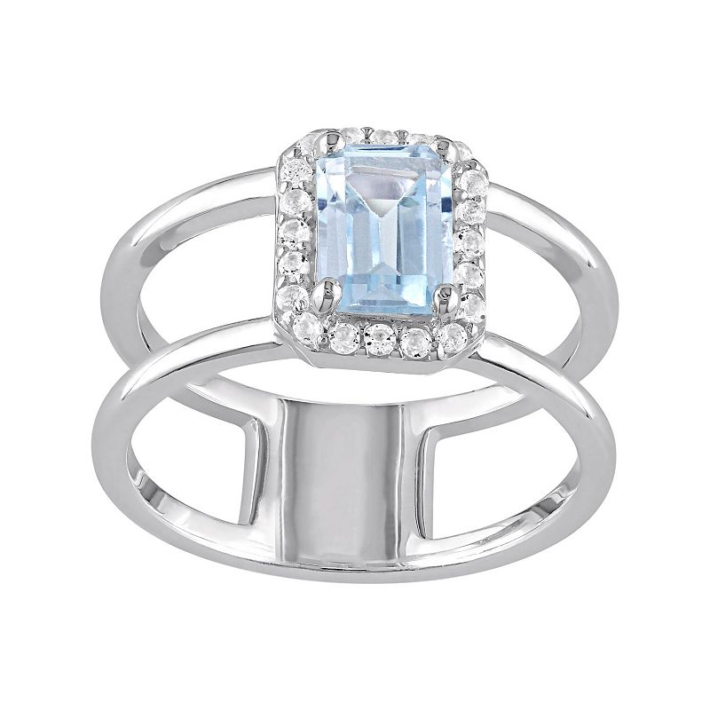 Blue & White Topaz Sterling Silver Double Row Halo Ring