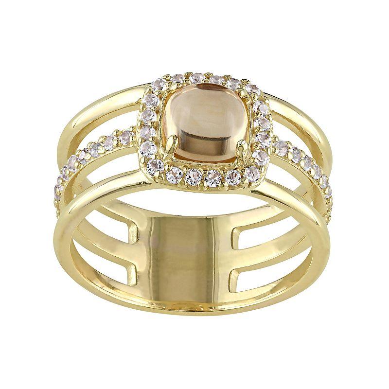 Citrine & White Topaz Sterling Silver Triple Row Halo Ring