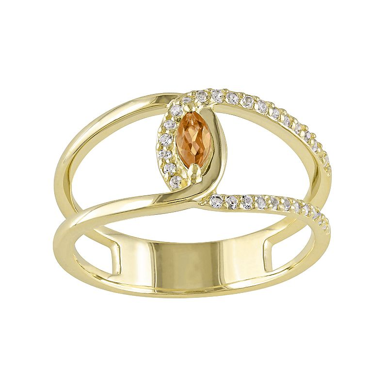 Citrine & White Topaz Sterling Silver Double Row Marquise Ring