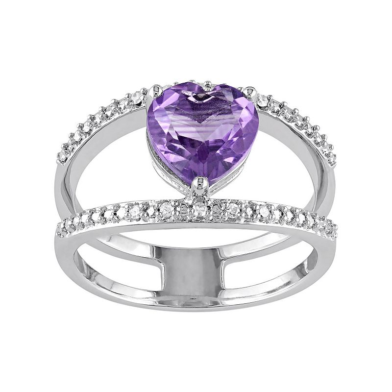 Amethyst & Diamond Accent Sterling Silver Double Row Heart Ring