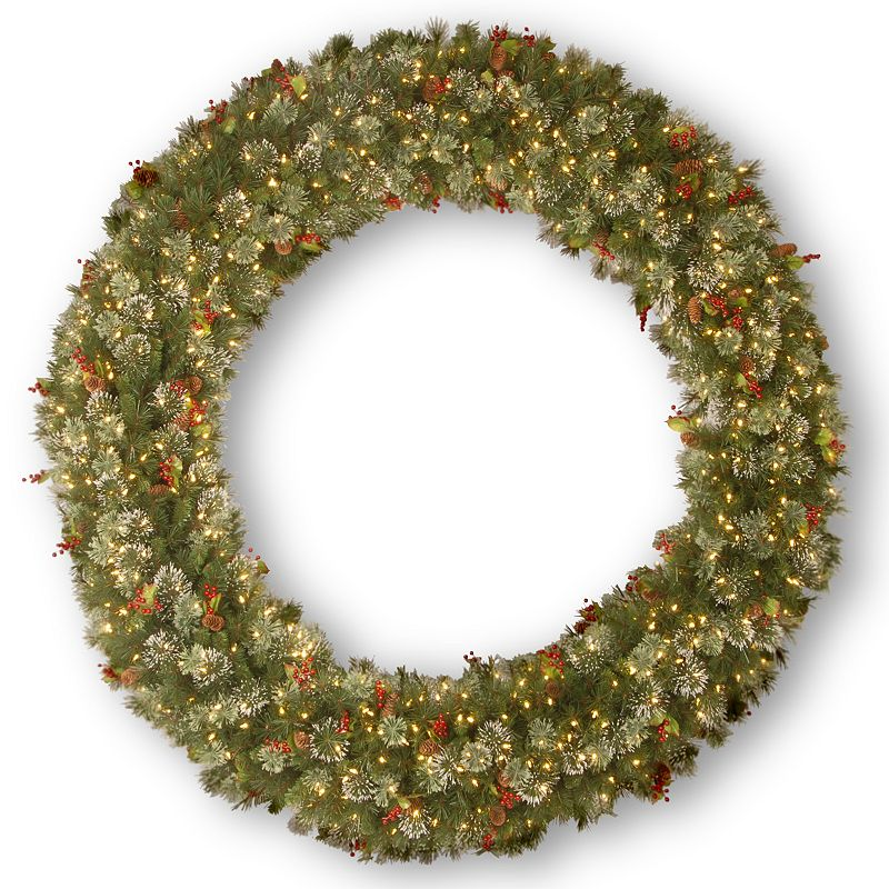 84-in. Pre-Lit Wintry Pinecone, Berry & Snowflake Pine Artificial Wreath