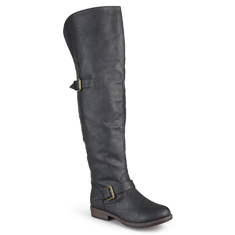 Journee Collection Kane Womens Studded Over-the-Knee Buckle Boots