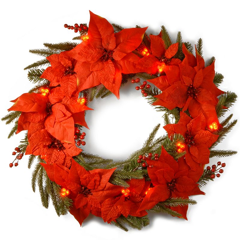 24-in. Pre-Lit Cluster LED Poinsettia Artificial Wreath