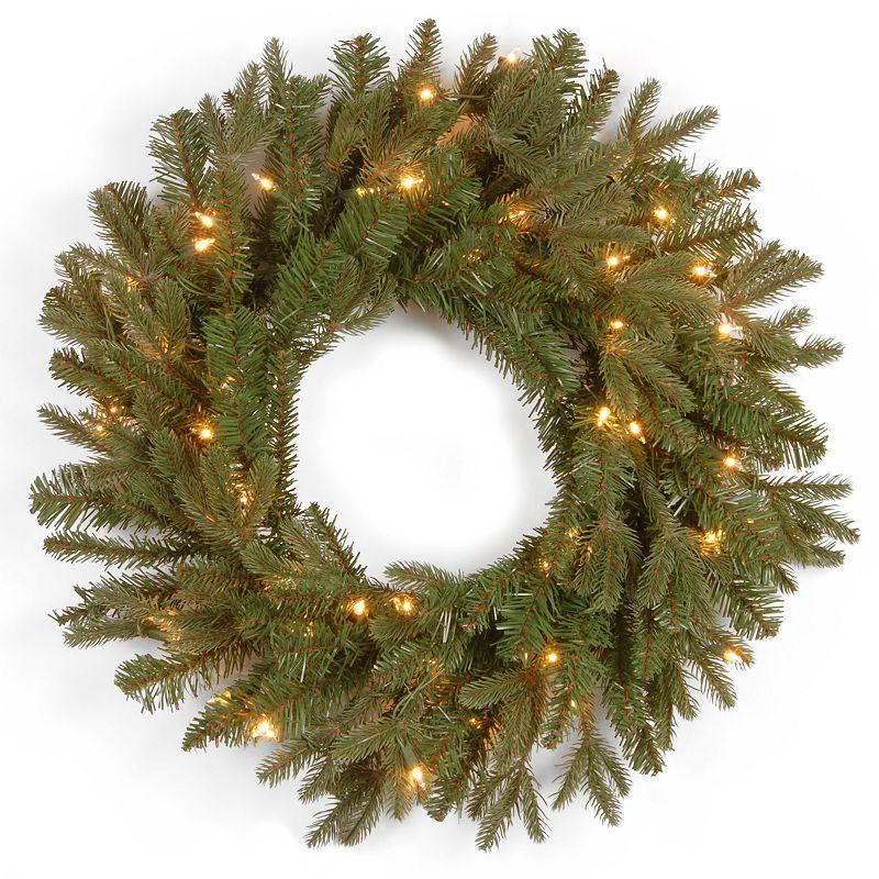 24-in. Pre-Lit ''Feel Real'' Tiffany Fir Artificial Wreath