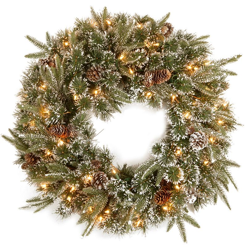 24-in. Pre-Lit ''Feel Real'' Snow & Pinecone Liberty Pine Artificial Wreath