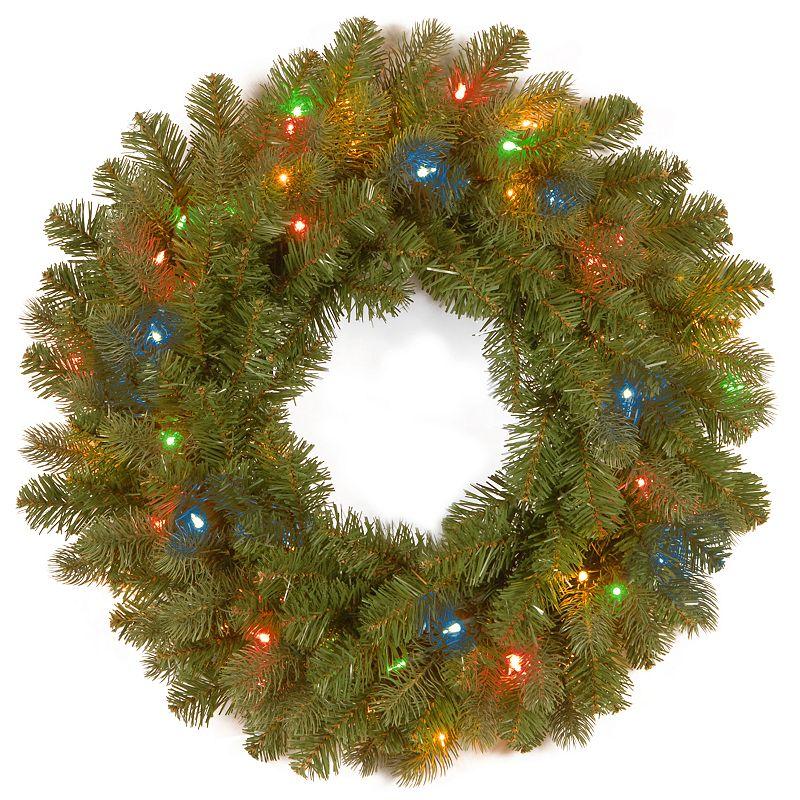 26-in. Pre-Lit Multicolor LED ''Feel Real'' Downswept Douglas Fir Artificial Wreath
