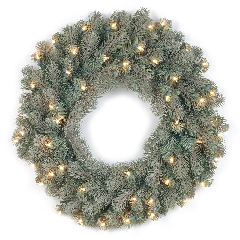 24-in. Pre-Lit ''Feel Real'' Frosted Colorado Spruce Artificial Wreath