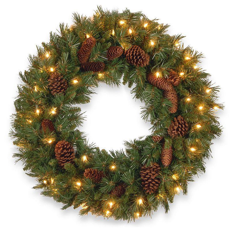 24-in. Pre-Lit Pinecone Artificial Wreath