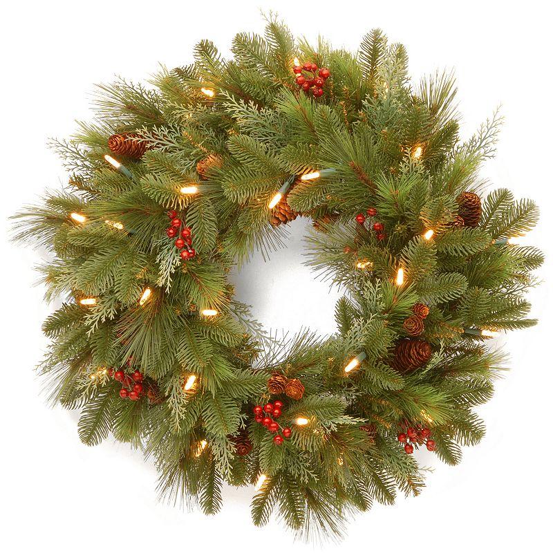 24-in. Pre-Lit LED Noelle Artificial Wreath
