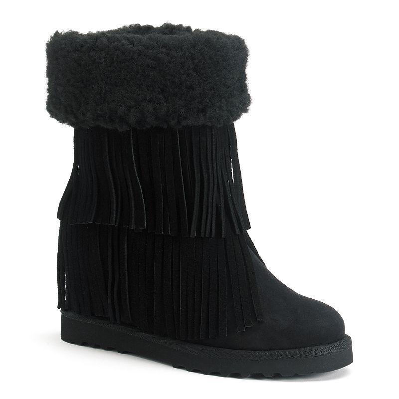 Madden Girl Sleet Women's Fringe Wedge Boots