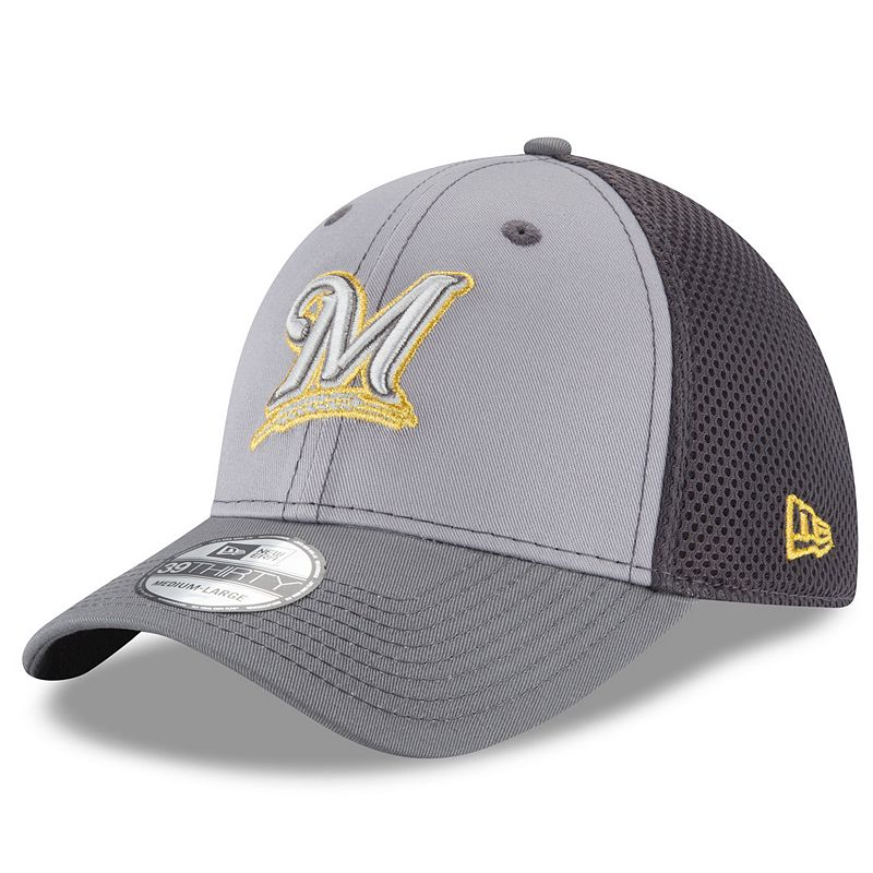 Adult New Era Milwaukee Brewers 39THIRTY Grayed Out Flex-Fit Cap