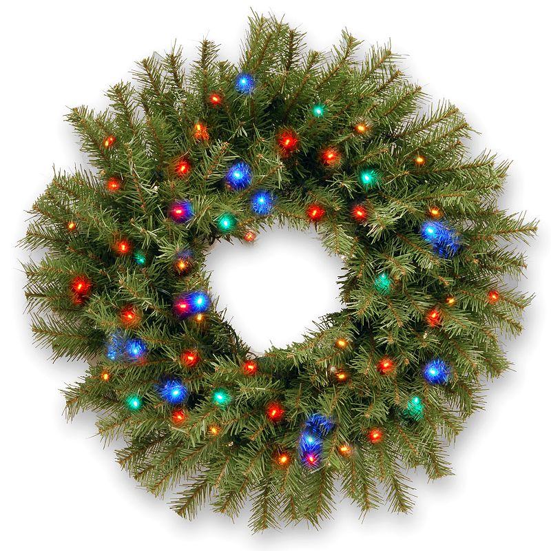 24-in. Pre-Lit Concave Multicolor LED Norwood Fir Artificial Wreath
