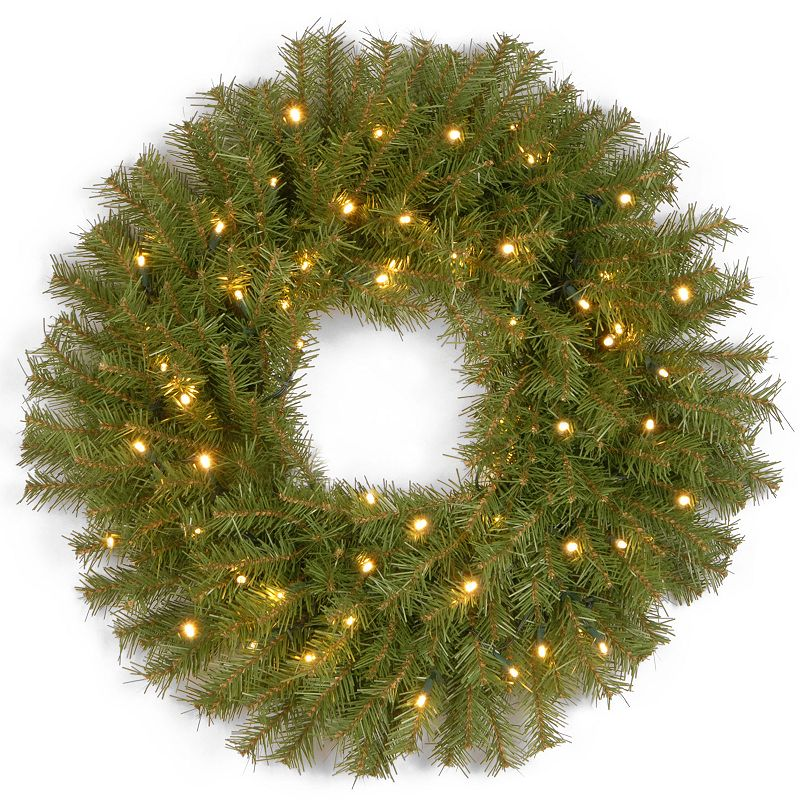 24-in. Pre-Lit Concave LED Norwood Fir Artificial Wreath