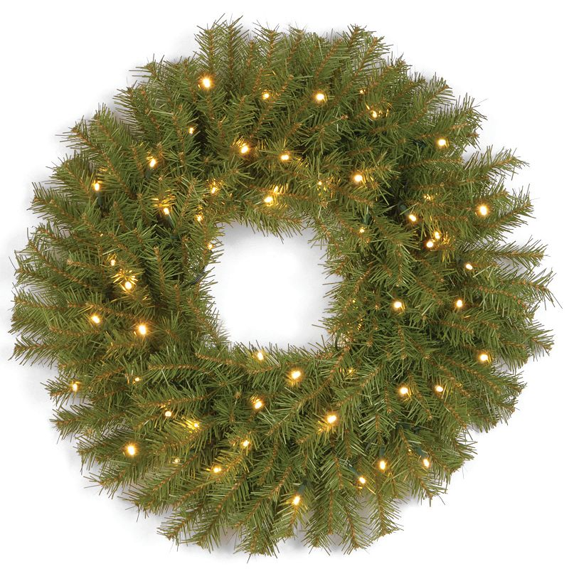 24-in. Pre-Lit Dual LED Norwood Fir Artificial Wreath