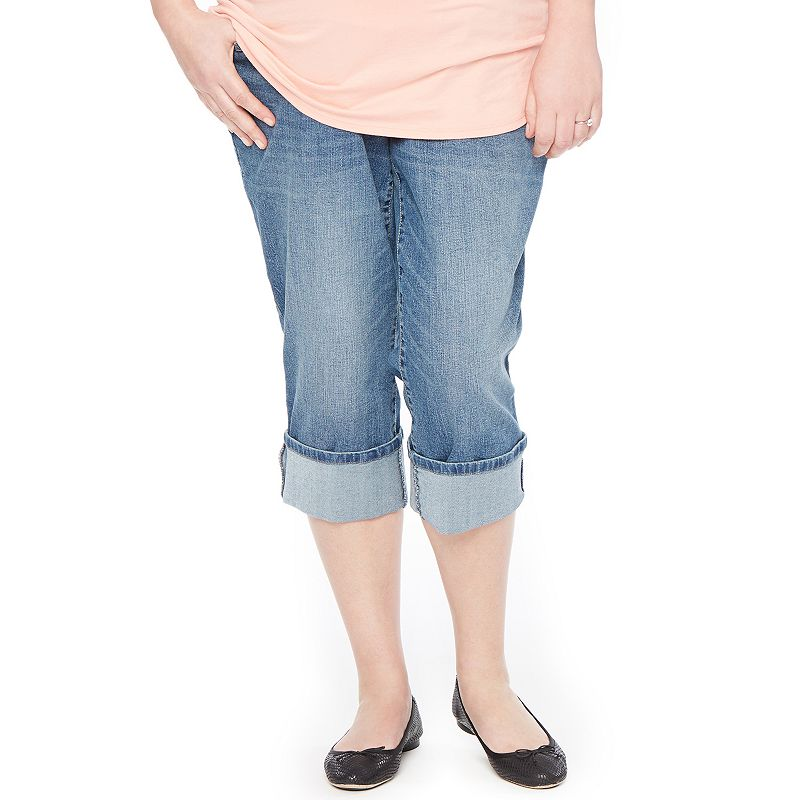 Plus Size Maternity Oh Baby by Motherhood™ Secret Fit Belly™ Cuffed Capri Jeans