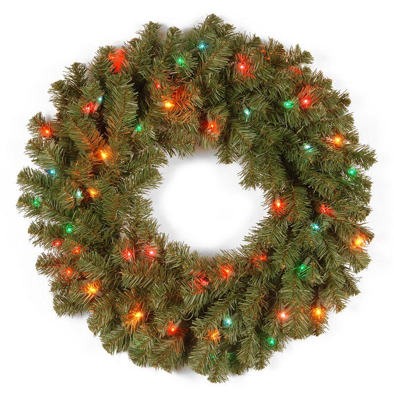 24-in. Pre-Lit Multicolor Kincaid Spruce Artificial Wreath