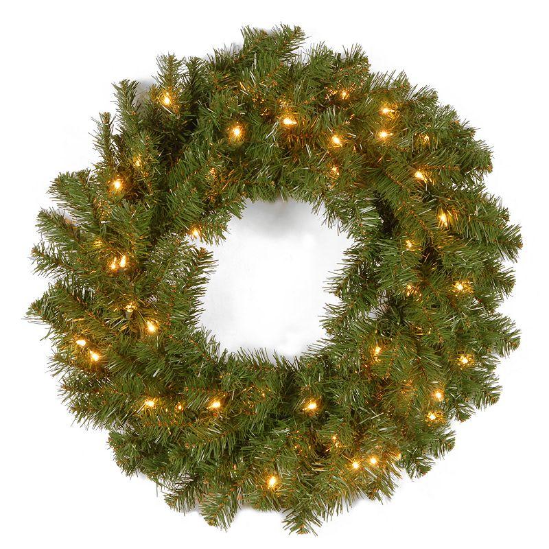 24-in. Pre-Lit Artificial Kincaid Spruce Wreath