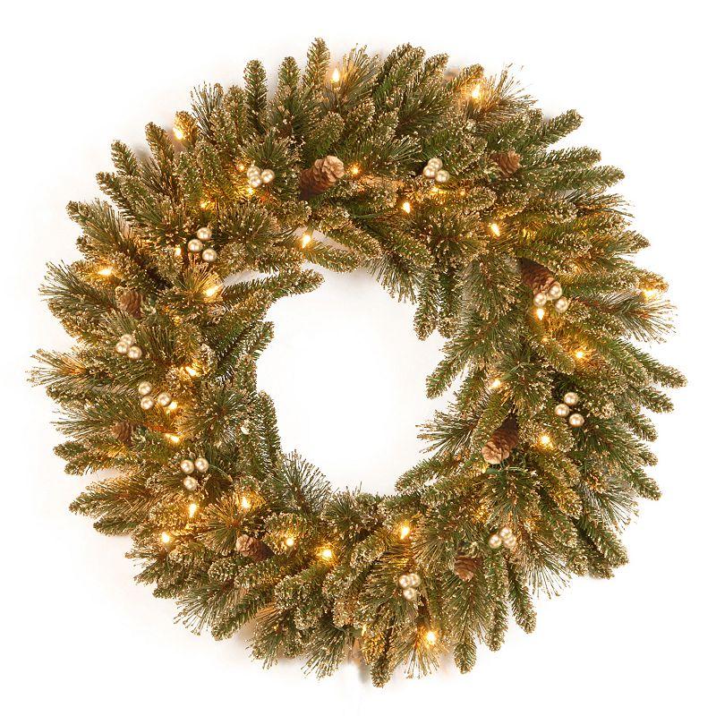 24-in. Pre-Lit Artificial Glitter Pine Wreath