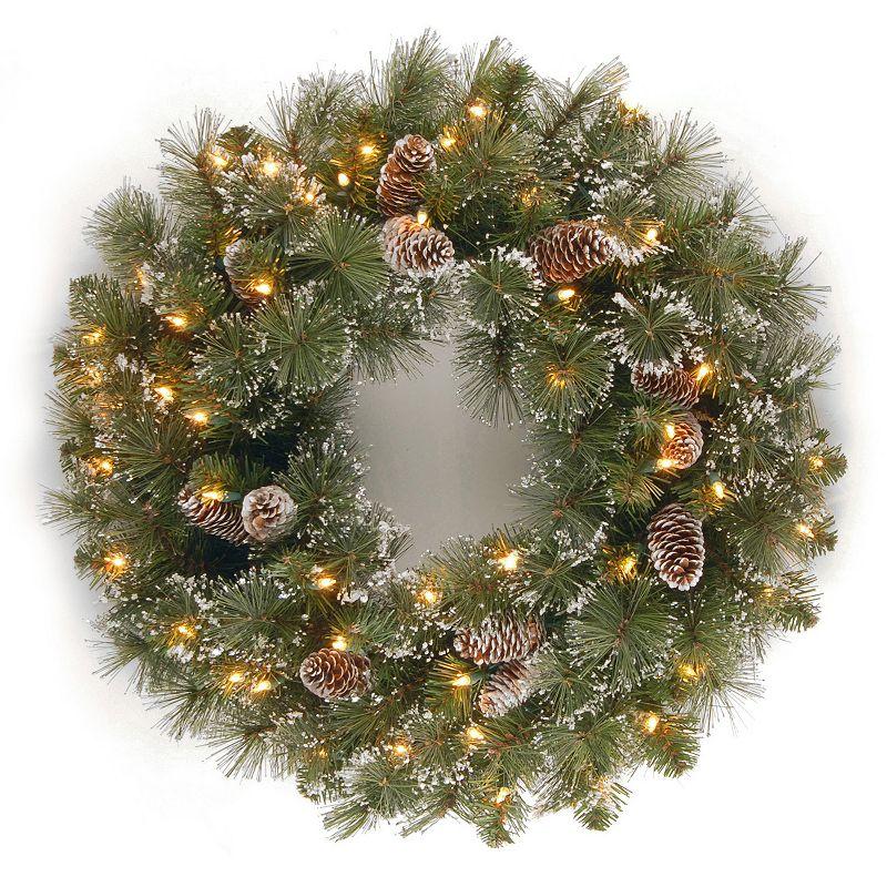 24-in. Pre-Lit Artificial Glitter Pinecone & Snowflake Pine Wreath