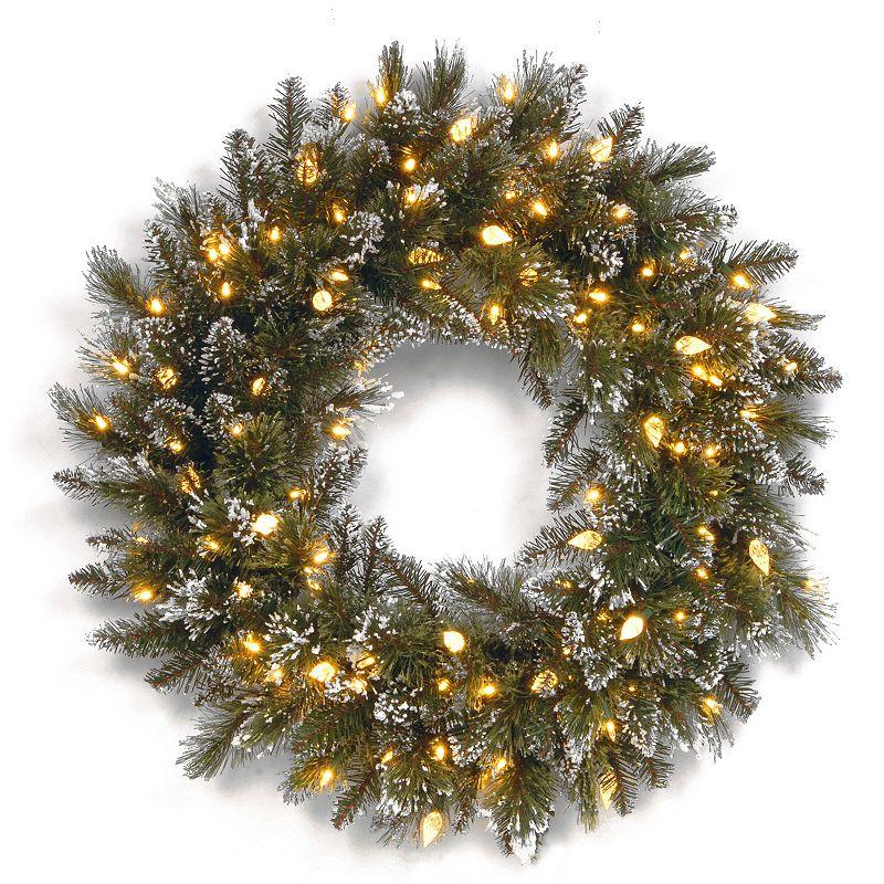 24-in. Pre-Lit LED Artificial Glitter Bristle Pine Wreath